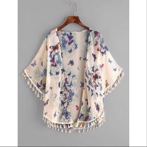 Butterfly Print Fringe Trim Top Kimono One Size